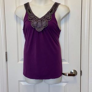 PURPLE ACCENT SLEEVELESS TOP BY JON & ANNA * 3X *